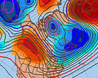GFS model forecast 500mb height anomalies at 120 hours from 12/30/12 (Valid 1/4/12)