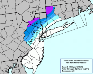 Storm Total Snow Forecast | December 25th, 2012