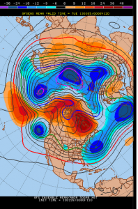 The 120 hour 00z GFS ensemble mean shows a potent storm system moving through the Central part of the country, with a strong NAO block to its northeast.