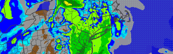 NAM Model's simulated radar, showing precipitation lingering over the area through Tuesday Night. Clearing is expected behind a cold front on Wednesday.