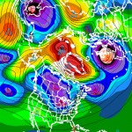 GFS Ensemble mean showing a -5 anomaly blocking feature developing from Greenland into North-Central Canada.