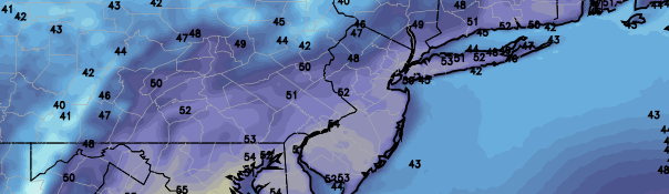 NAM model showing high temperatures in the lower to middle 50's on Friday, a welcomed sight after weeks of below normal temperatures and snow in March. Temperatures will warm into the mid/upper 50's before a chance of showers on Easter afternoon.
