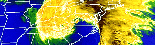 "Satellite image of the 1993 ""Storm of the Century"" powering up the"