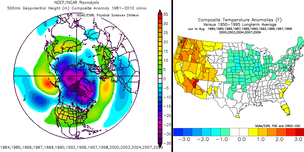 500mb height anomalies for the month of May preceding the 15 coolest summers of the last 30 years in NYC (left) and average temperature departures from normal that followed (right).