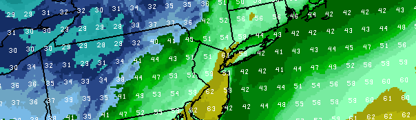 NAM Model forecasting temperatures in the lower 60's on Monday afternoon in the NYC Area, just in time for 2013 Opening Day for both the Yankees and Mets.