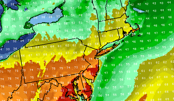 NAM Model showing forecast highs throughout the area on Tuesday.