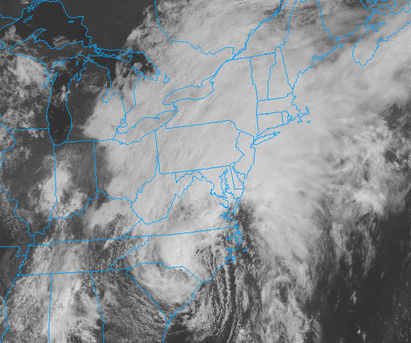 Tropical Storm Andrea, as seen on visible satellite June 7th, 2013. Andrea was moving northeast and continued to pack maximum sustained winds of 40 miles per hour.