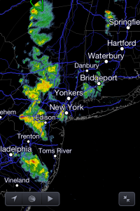 Radar image as of 5:30pm EDT shows numbers showers and thunderstorms in New Jersey, with less activity from NYC and east.