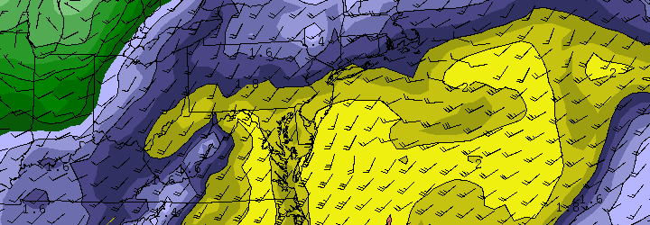 NAM model showing precipitatable water values approaching 2.0 this weekend as tropical moisture surges up the East Coast.