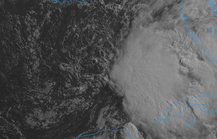 Visible satellite imagery of a tropical disturbance in the Gulf of Mexico on the morning of June 5th, 2013.