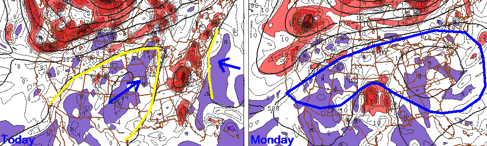 GFS model forecasts of height and vorticity at 500mb. Valid Thursday 7/11/2013 (left) and Monday 7/15/2013 (right).