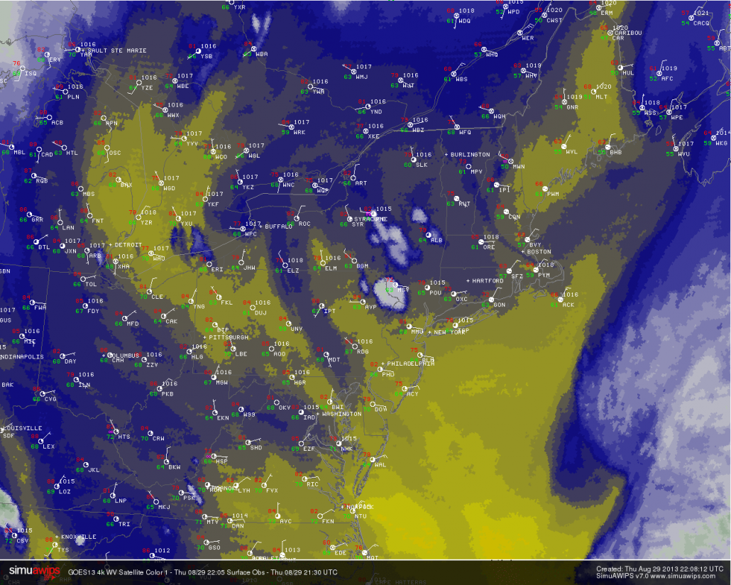 Water Vapor satellite imagery and observations from 6pm on 8/29/13