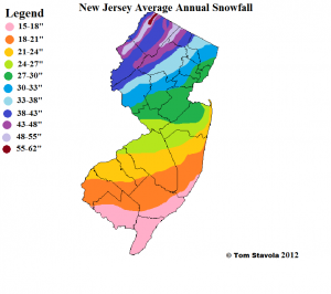 Average annual snowfall throughout the state of New Jersey, compiled and drawn by Tom Stavola.