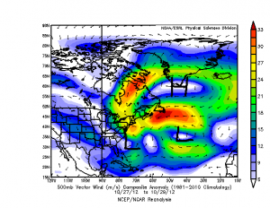 500mb vector wind anomaly composite from the ESRL, right around the time of Hurricane Sandy.