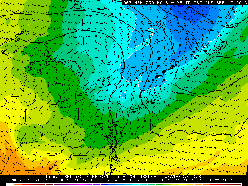 NAM model, showing the very cool temperatures at the 850mb level throughout the Northeast on Tuesday morning.