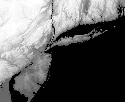 Map of elevation (lighter is higher elevation) in NY, NJ, CT.