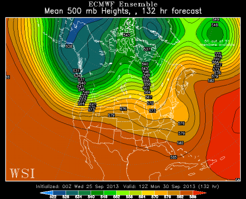 Last night's European ensemble mean, valid for 8 a.m. Monday morning. Image is courtesy of the WSI model lab.