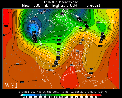 Last night's European model ensembles, valid for 8 a.m. Saturday morning. Image is courtesy of the WSI model lab.