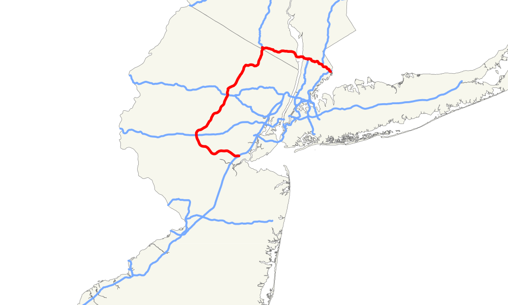 A map highlighting Interstate 287's path through New Jersey and far Southeast New York.