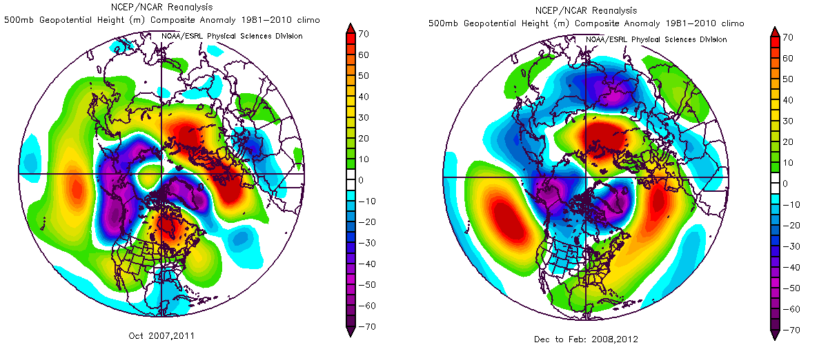 Averaged 500mb geopotential height anomalies during October years with no blocking (left) and the following Dec-Jan-Feb  (right).