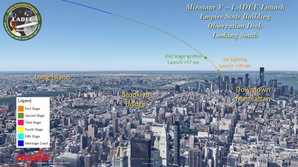 An image illustrating the viewing scheme of the rocket, taken from the perspective of someone on the Empire State Building viewing deck. Image credit goes to universetoday.com
