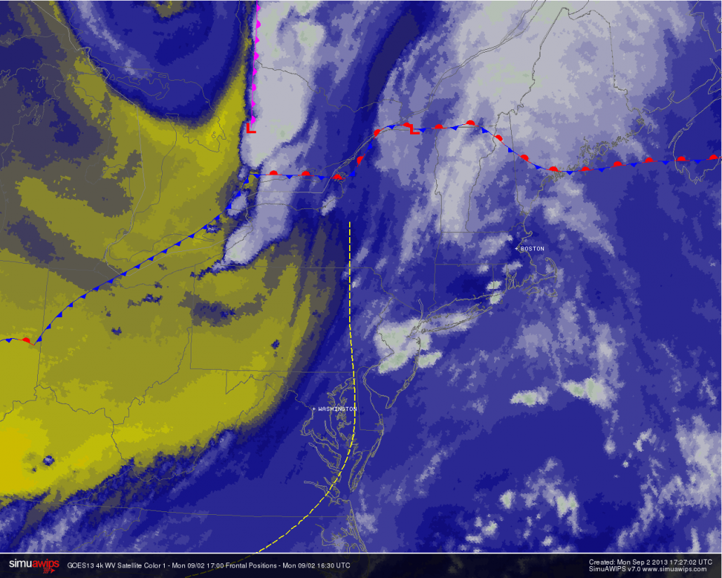 Water Vapor Satellite imagery from the afternoon of September 2nd, 2013 showing moisture streaming into the area ahead of a cold front.