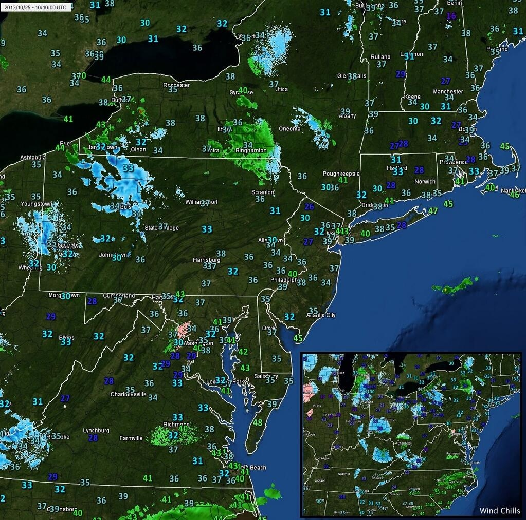 Observations and radar in the Northeast early Friday morning (WeatherNut, Twitter).