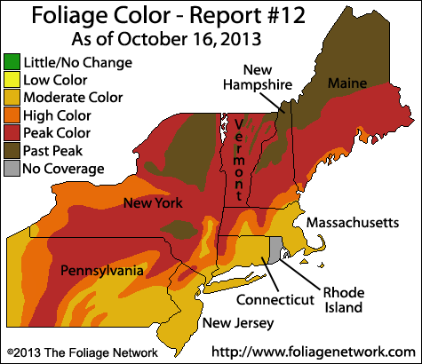 Foliage report from October 16th, 2013. Courtesy The Foliage Network.