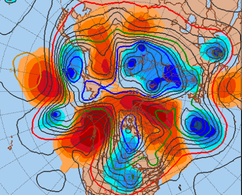 The current weather pattern shows the blocking regime very well. Also note the ridging poking through Alaska -- a -EPO pattern. This also favors cold, and it is the -EPO and -NAO combination that leads to our coldest and snowiest winters.