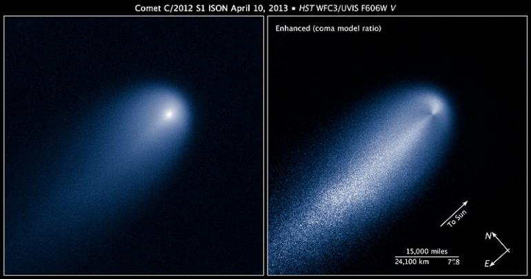 Comet ISON as observed by the Hubble Space Telescop, near Jupiter, in April of 2013.
