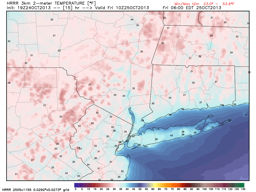 NAM model, showing temperatures falling into the 20's and 30's overnight tonight into Friday morning.
