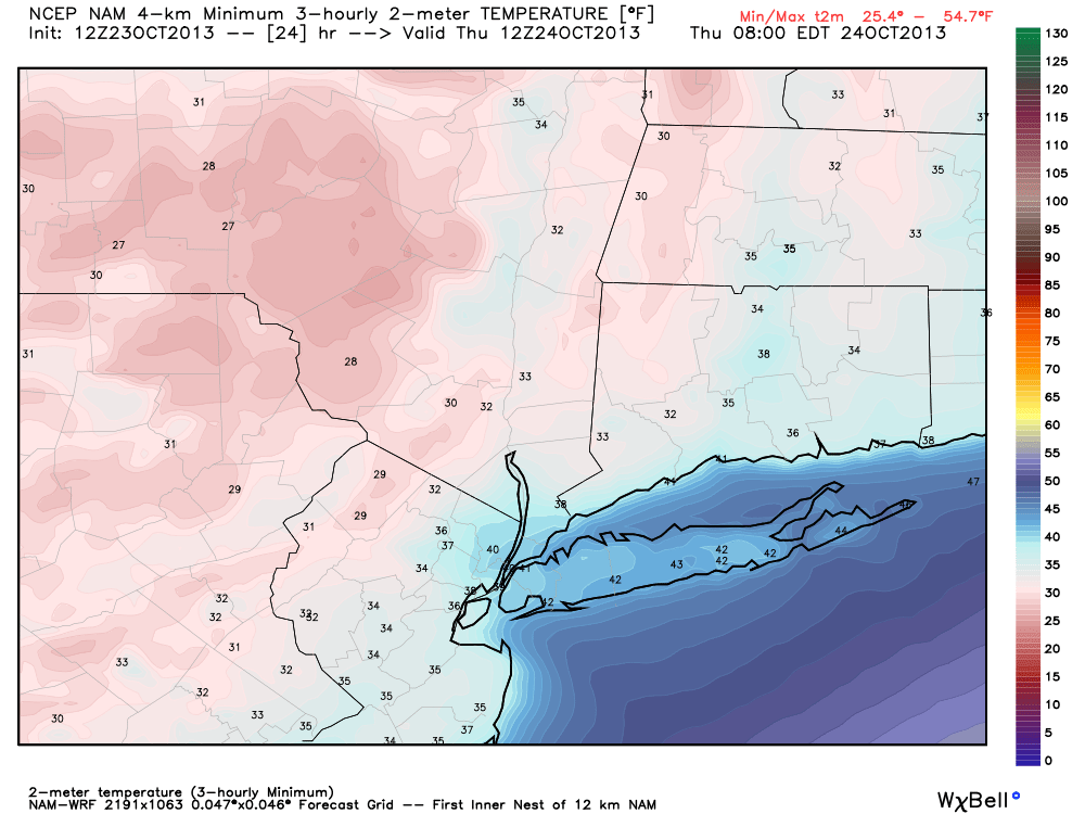 NAM model forecasting low temperatures in the upper 20's to lower 30's in the interior Wednesday Night into Thursday morning.