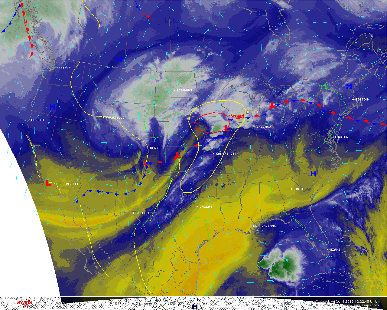 US Water Vapor satellite imagery, frontal positions, and SPC severe weather outlook from the morning of October 4 2013. A disorganized T.S Karen is seen in the Gulf of Mexico.