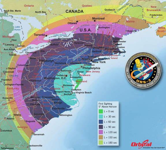 Timing of first sighting above horizon by location, for tonight's 730pm planned rocket launch.