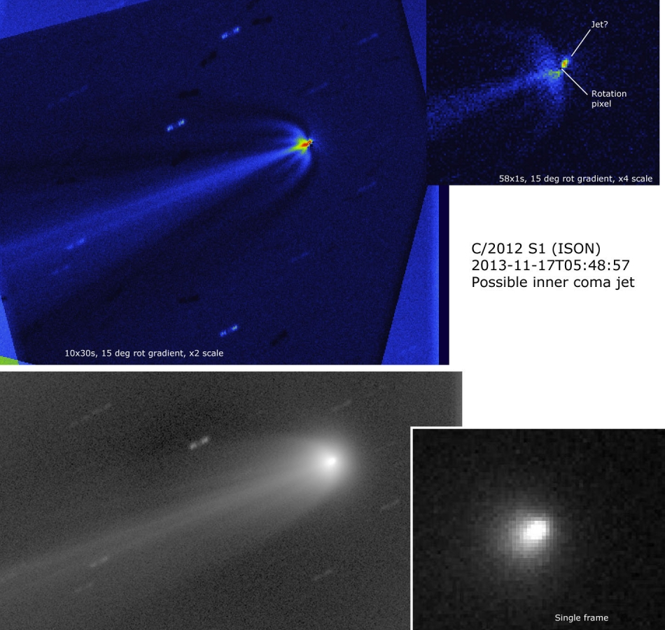 Astronomers processing of Comet ISON imagery showing potential jet structure.