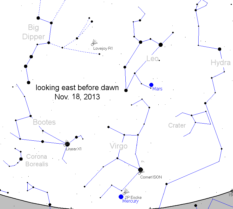 View of constellations and Comet ISON to the east on November 18th 2013.
