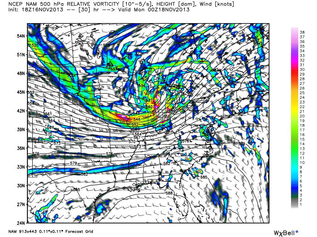 NAM model showing a significant mid and upper level disturbance moving through the Central US on Sunday.