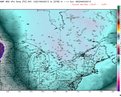 Today's 12z European Model valid for Sunday afternoon shows 850mb temperatures in between -15C and -18C. This supports temperatures not getting above freezing. Image credit goes to weatherbell.com