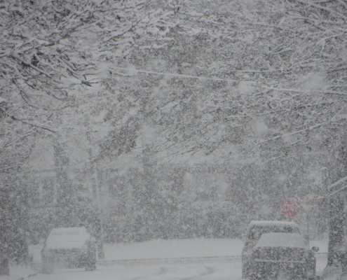 A photo taken by Doug Simonian during the heavy snow burst at 10:30am in Rockville Centre, NY.
