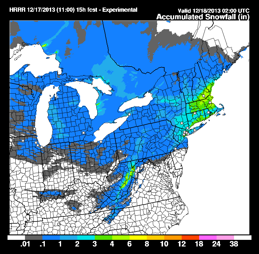 HRRR model storm total snowfall forecast through evening on Tuesday.