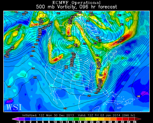 Today's European Model at the 500mb level valid for Friday morning shows a big storm with strong positive vorticity advection streaming into our area. Image credit goes to the WSI Model Lab.