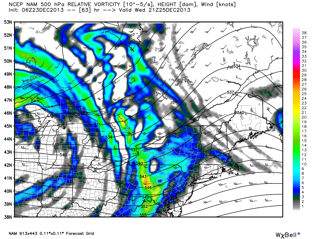 NAM model 500mb height and vorticity, showing a disturbance moving through the area on Christmas Day which may kick off a band of heavy snow.