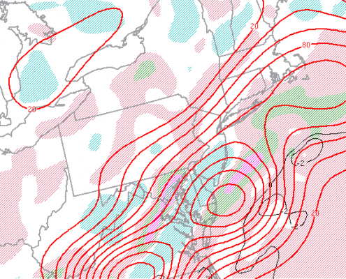 SPC mesoanalysis shows favorable ingredients for snowfall banding located on the I-95 corridor, or just south of it.