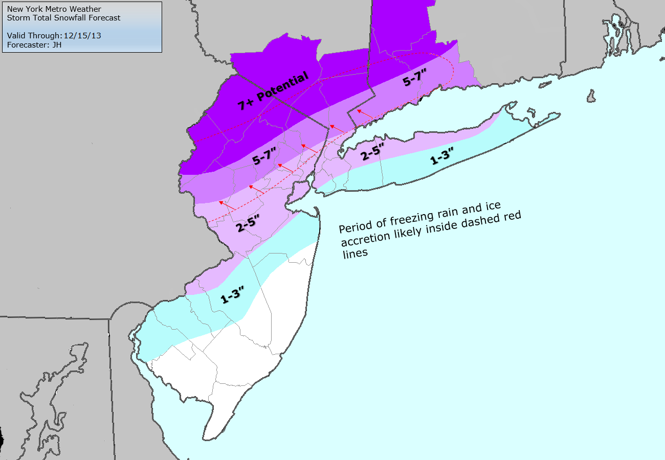 Latest storm total snowfall forecast, including what has already fallen. Updated 11am 12/14/13.