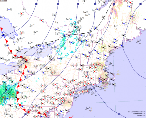 Current surface analysis shows a warm front moving into the area, which is bringing southeast winds off of the Atlantic Ocean, explaining the moisture and the dense fog today. Image credit goes to weatherroanoke.com