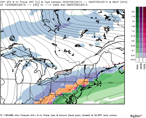 Today's GFS model valid for Friday night shows moderate rain in the area, with a wintry mix north and west of the city. Image credit goes to weatherbell.com.