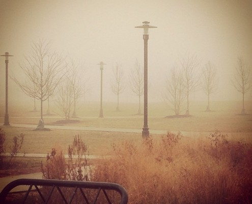 A photo of today's dense fog from the Livingston Campus in Rutgers University, New Brunswick. Photo credit goes to Shawnie Caslin.