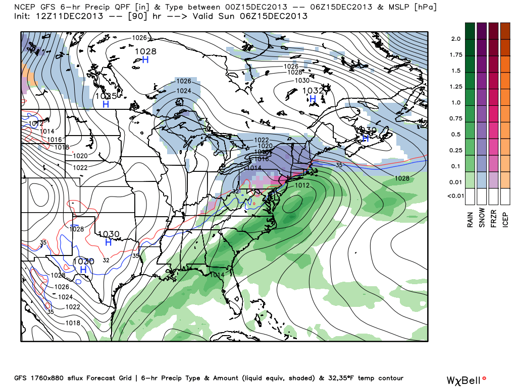 GFS model showing mixed precipitation impacting the area this weekend as a storm system moves off the Mid Atlantic coast.