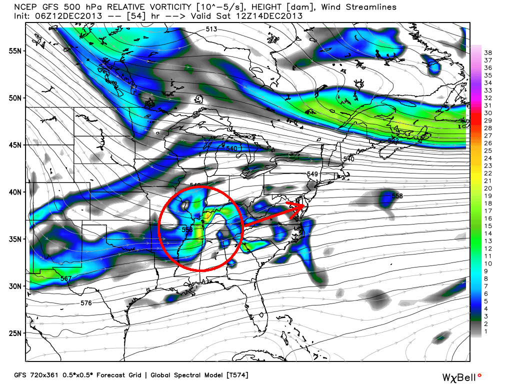 GFS model showing the mid level disturbance (image shows 500mb height and energy) moving from the MS Valley to the Mid Atlantic states.