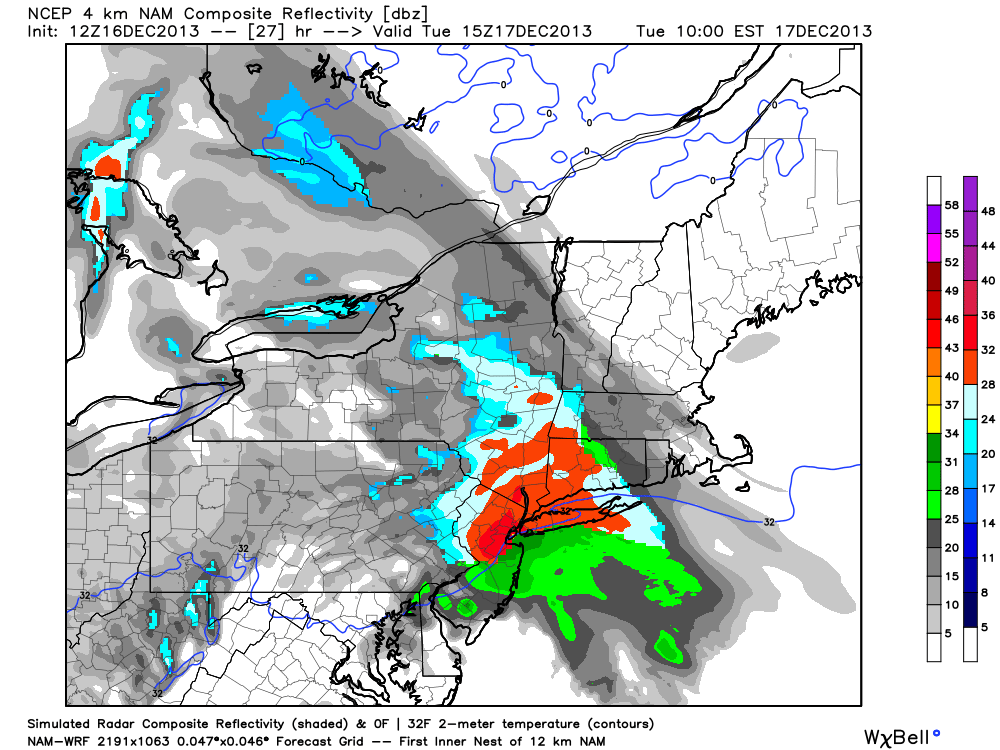 NAM model showing a period of moderate snow throughout the area on Tuesday.